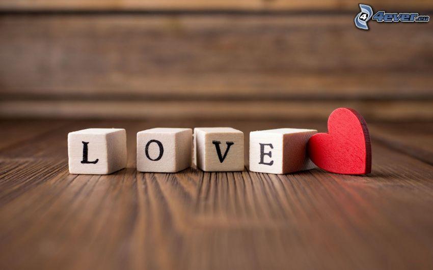 bloques de madera, love, corazón