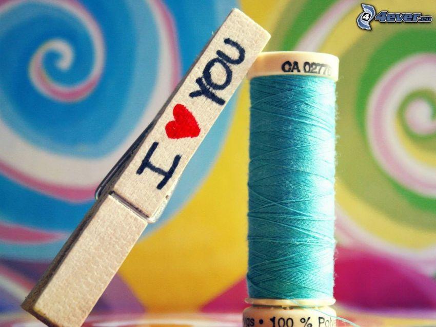 clip, hilos, I love you, espiral