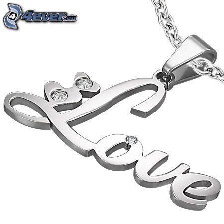 colgante de plata, love, cadena