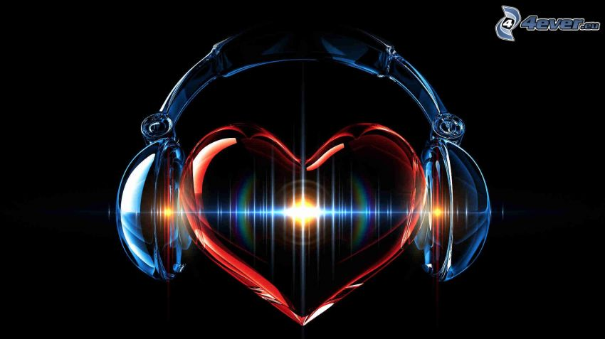 corazón, auriculares, fondo negro