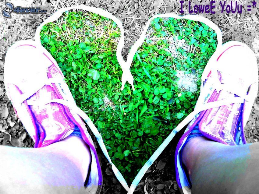 corazón de cordones, tréboles de cuatro hojas, pies