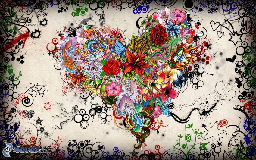 corazón de flores, flores dibujados