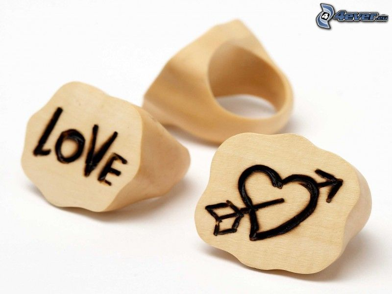 anillos, amor, corazón, flecha