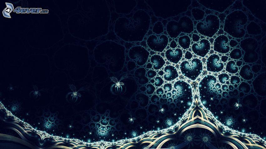 árbol, corazones, arte digital