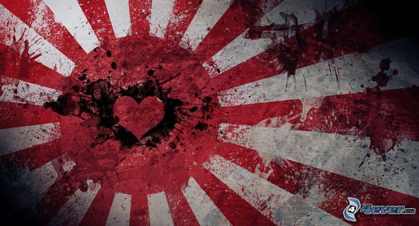 bandera japonesa, corazón, manchas, líneas