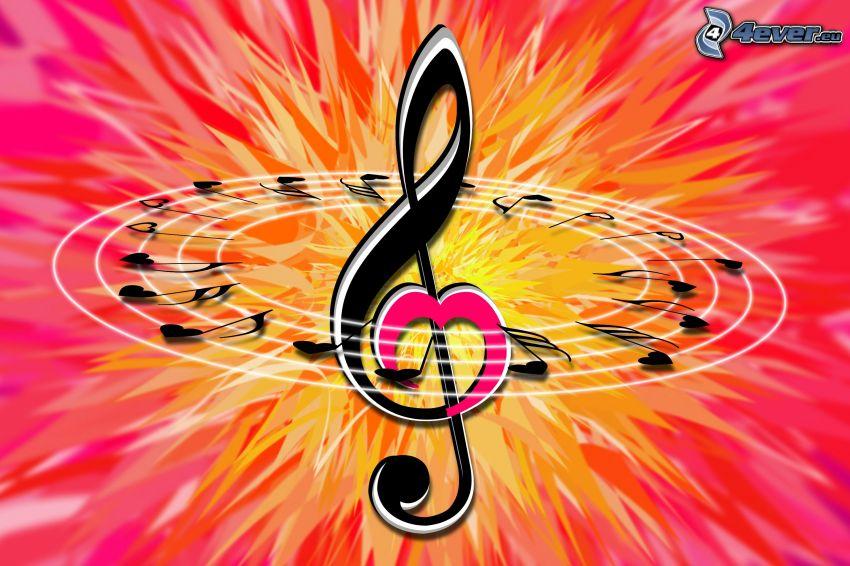 clave de sol, notas de música, corazones