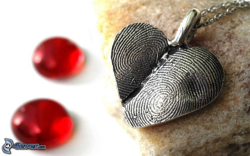 colgante con el corazón, huella dactilar, colgante de plata