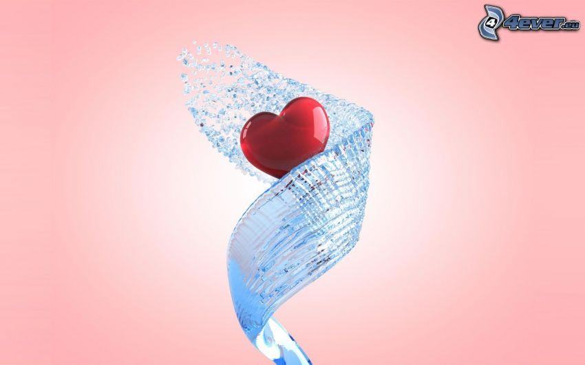 corazón, agua