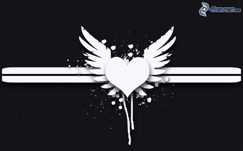 corazón, alas, líneas, blanco y negro