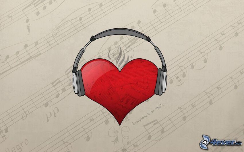 corazón, auriculares, notas de música
