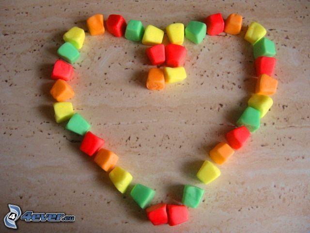 corazón, caramelos