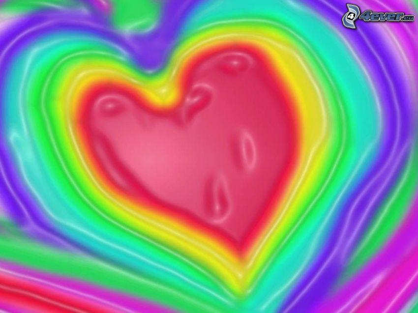 corazón, colores del arco iris