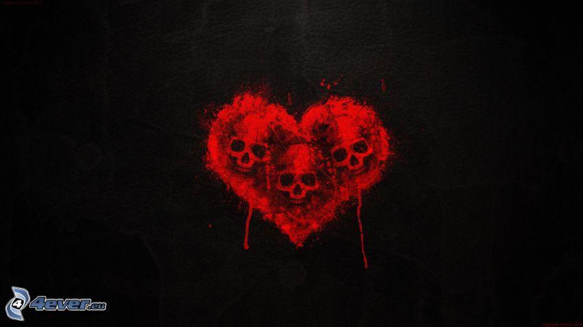 corazón, cráneos