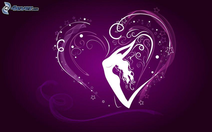 corazón, estrellas, silueta de mujer