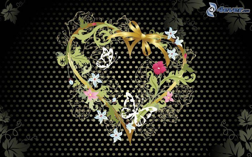 corazón, flores, hojas abstractas