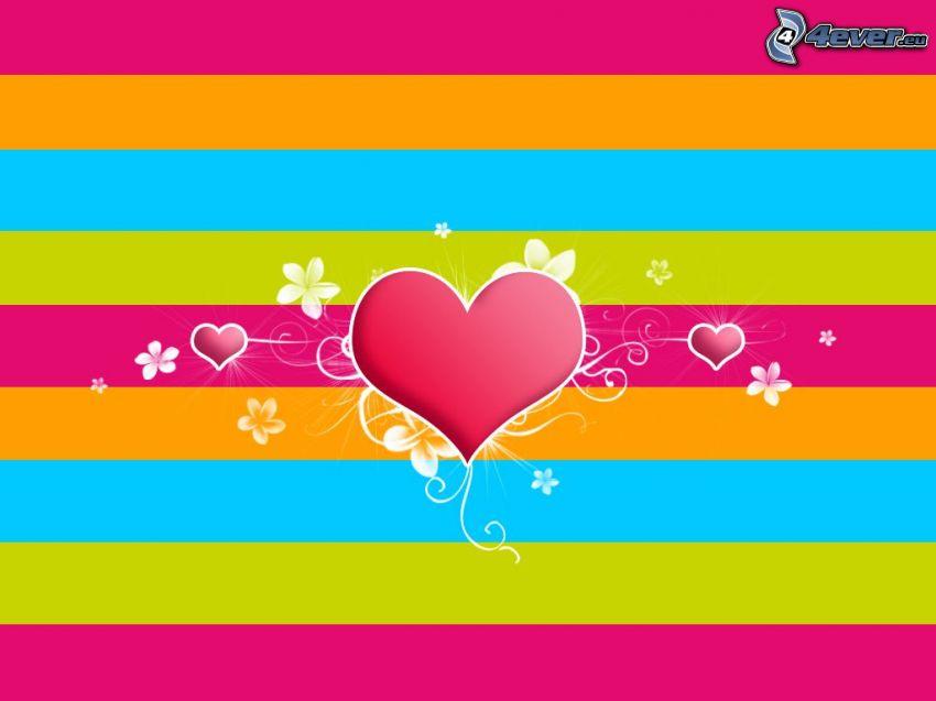 corazón, fondo de colores