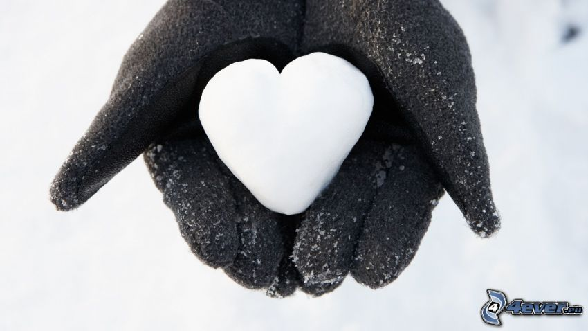 corazón, guantes