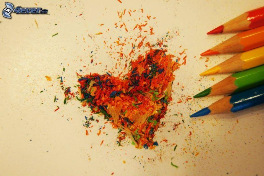corazón, lápices de colores