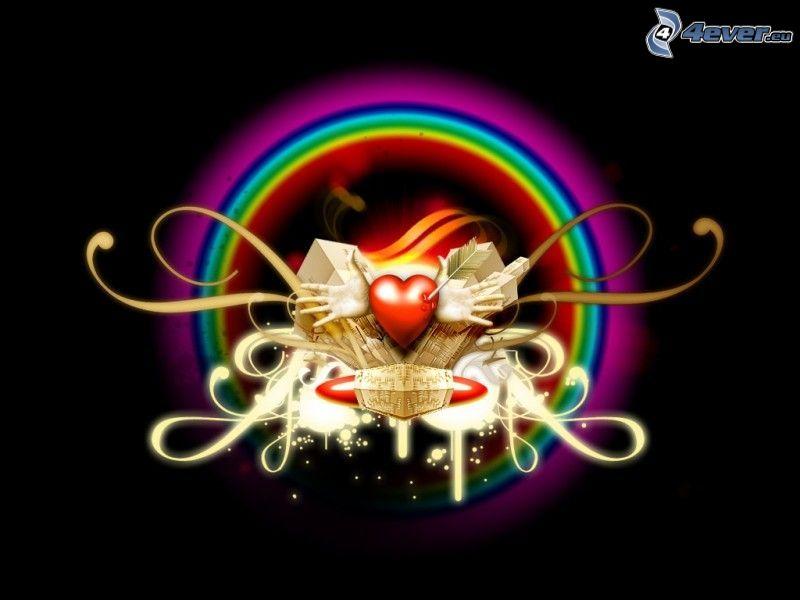corazón, manos, color de arco iris