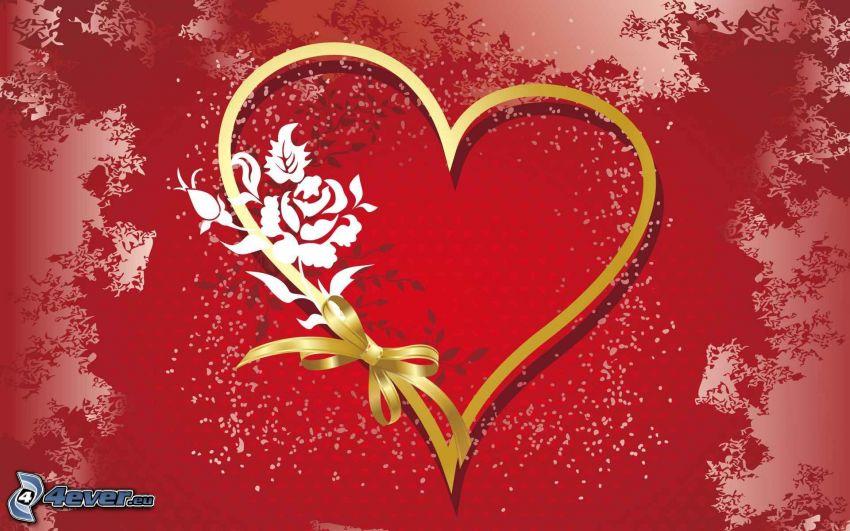 corazón, moña, rosa
