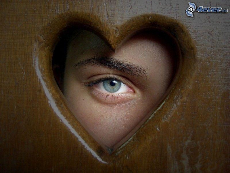 corazón, ojo, mirada