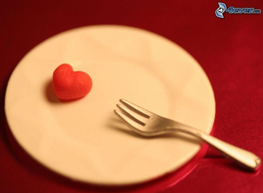 corazón, plato, tenedor