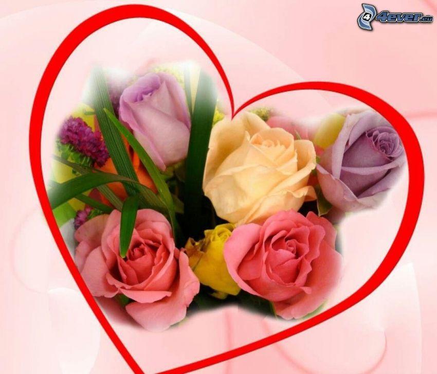 corazón, rosas