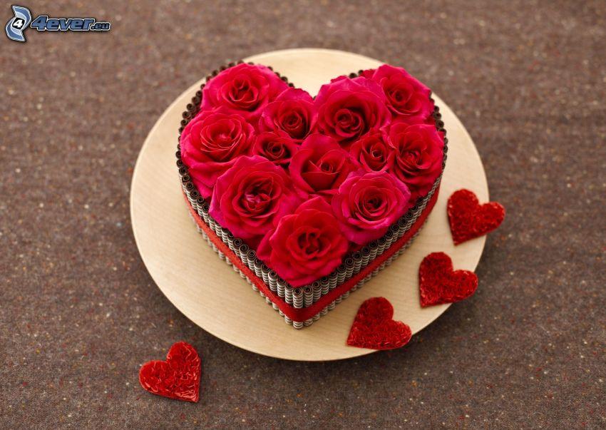 corazón, rosas rojas, corazones