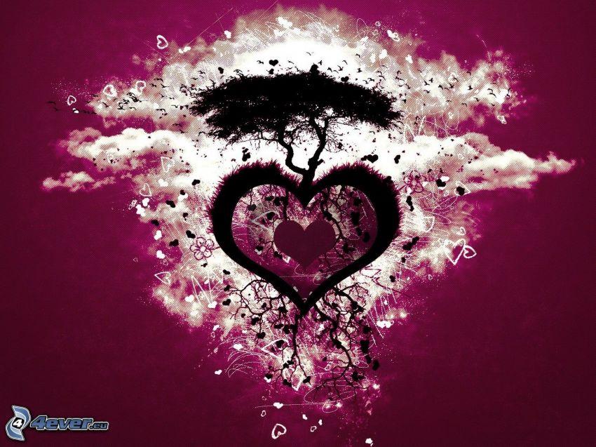 corazón, silueta de un árbol