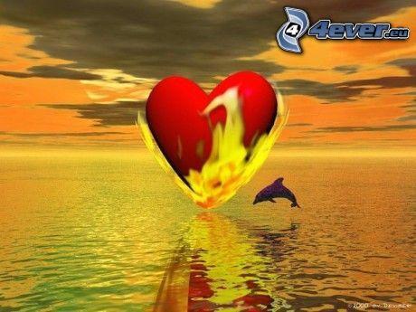corazón ardiente, llama, delfines saltando, mar, cielo anaranjado