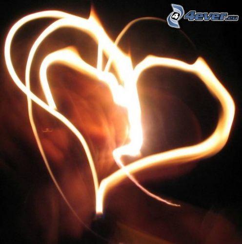corazón ardiente, llama