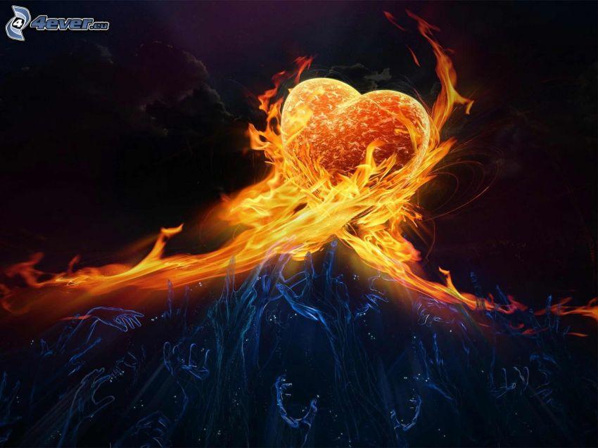 corazón ardiente, manos, incendio