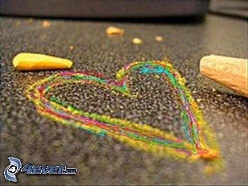 corazón colorido, colores, tiza, acera