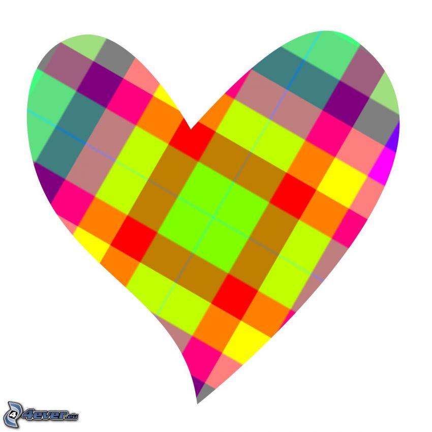 corazón colorido, cuadrados