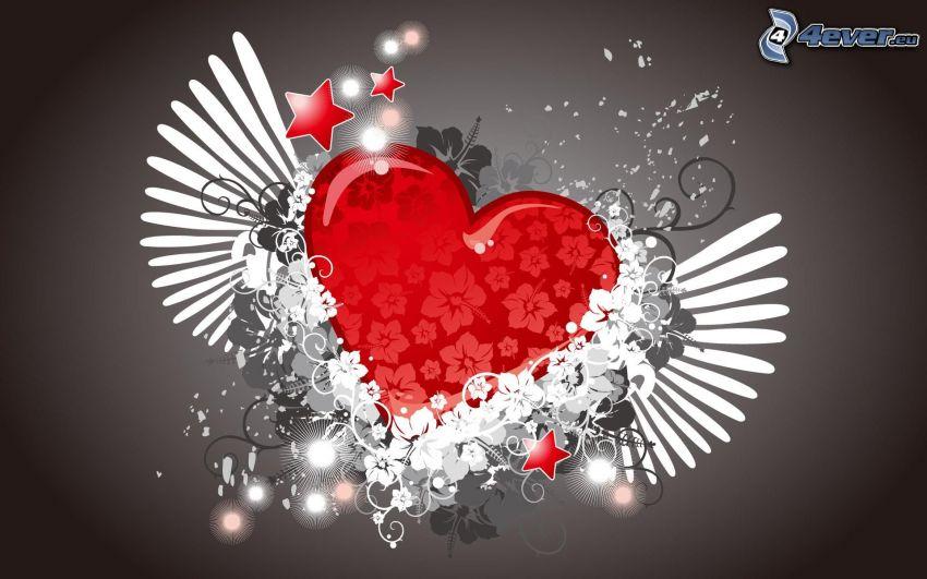 corazón con alas, adornos, flores dibujados, estrellas
