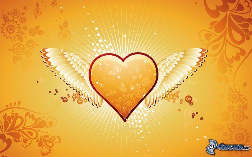 corazón con alas, adornos