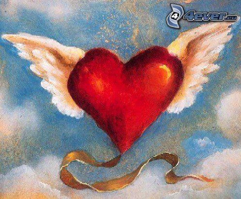 corazón con alas, dibujos animados de un corazón