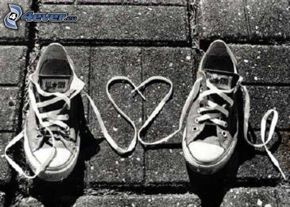 corazón de cordones, zapatos, Converse, amor