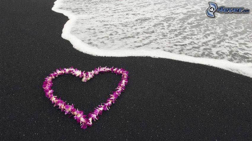 corazón de flores, mar, playa