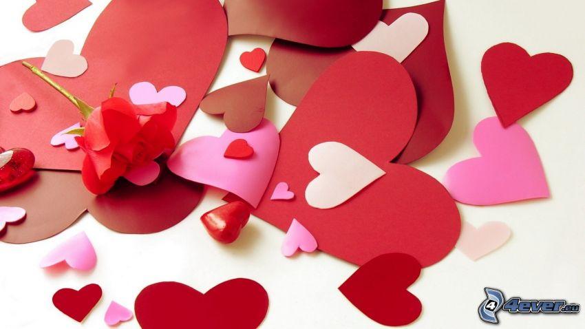 corazón de papel, corazones rojos, rosa roja