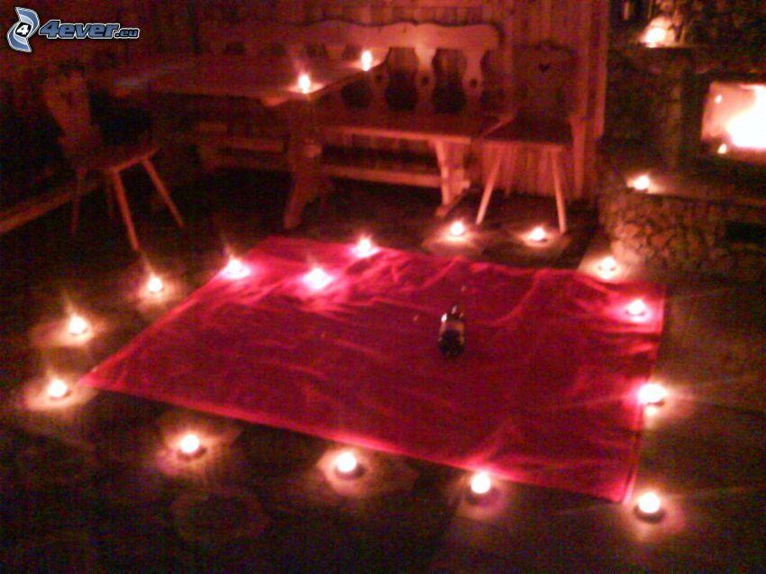 corazón de velas, romántica