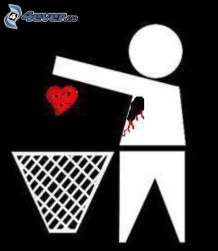 corazón emo, cesta, figura