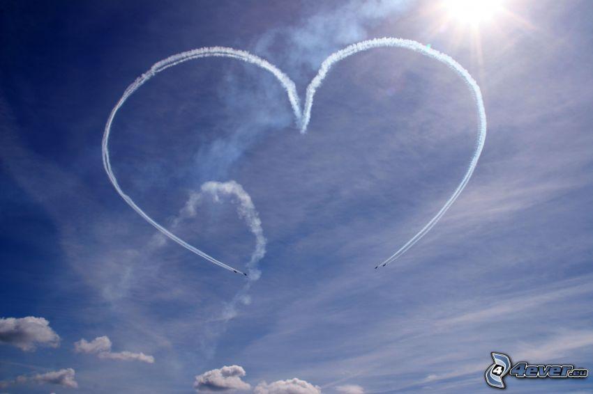 corazón en el cielo, aviones, amor, marcas de condensación, sol