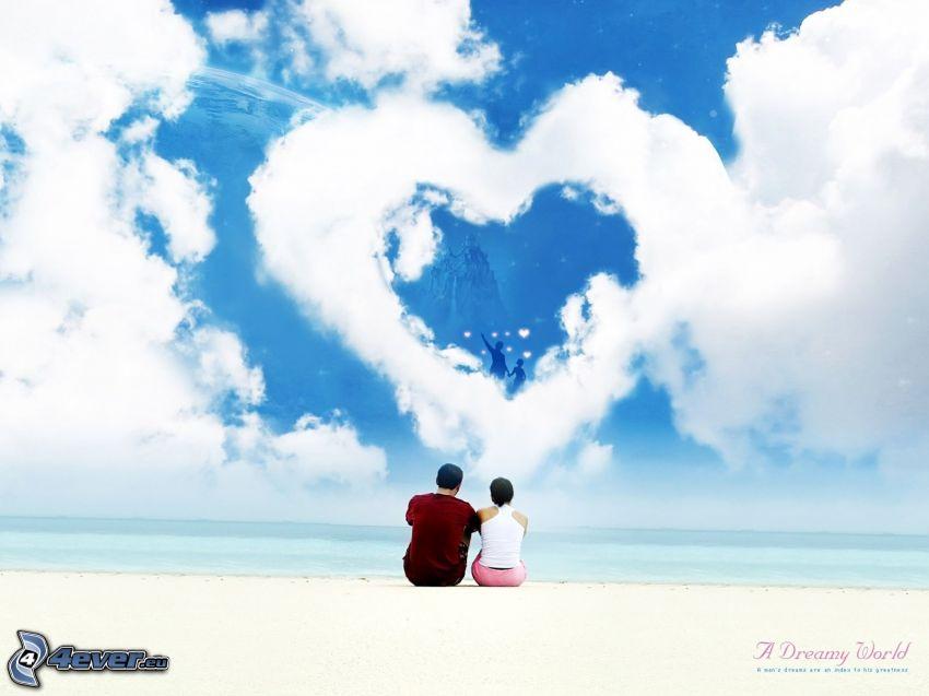 corazón en el cielo, nube, pareja en la playa, San Valentín