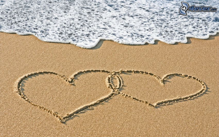 corazón en la arena, playa de arena, mar