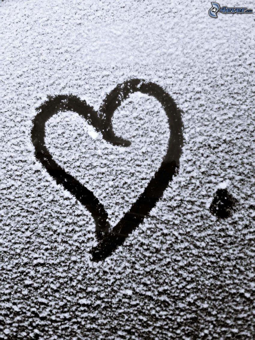 corazón en la ventana, glaseado, amor, nieve