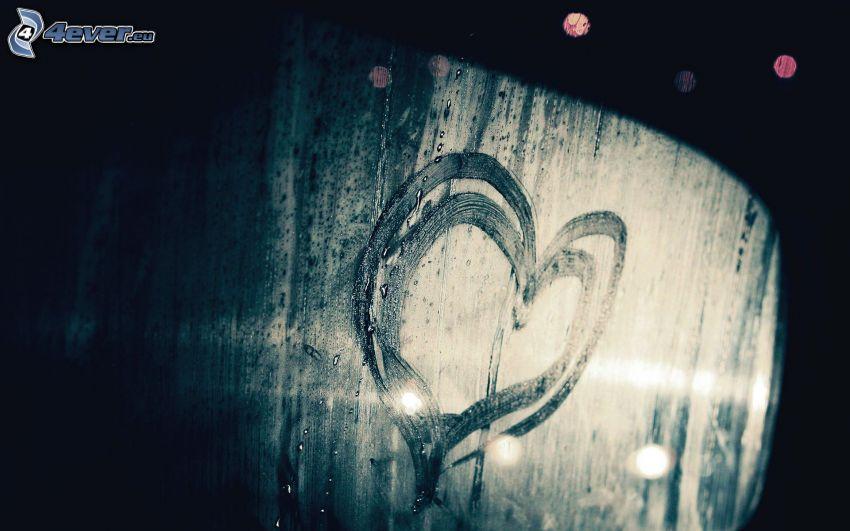 corazón en la ventana, rocío en vidrio