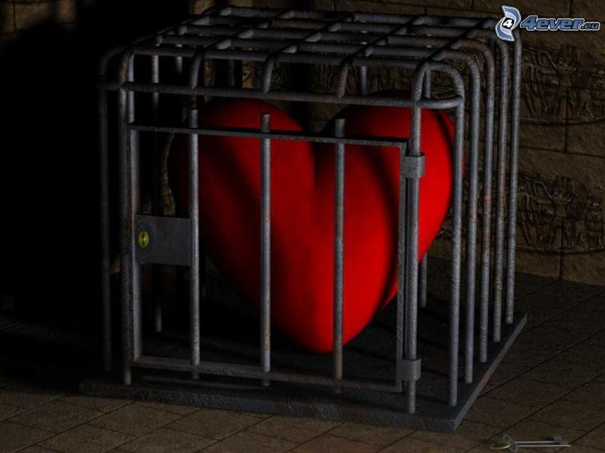 corazón encerrado, jaula
