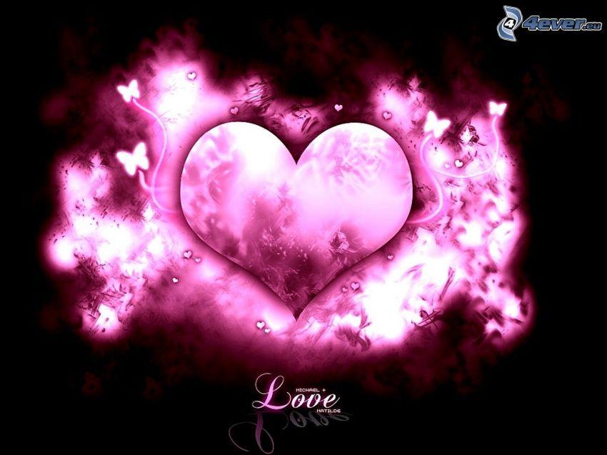 corazón púrpura, love, Mariposas
