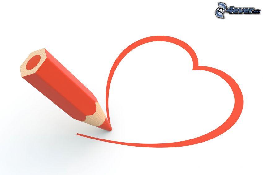 corazón rojo, lápiz